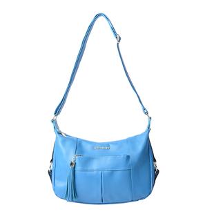 SENCILLEZ 100% Genuine Leather Crossbody Bag with Zipper Closure (Size 29x10x21cm) - Ocean Blue