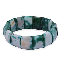 Green Agate (Cush) Stretchable Bracelet (Size 7.5)  330.500 Ct