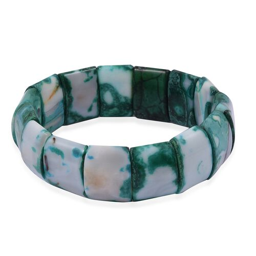 Green Agate (Cush) Stretchable Bracelet (Size 7.5)  330.500 Ct