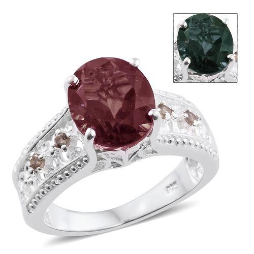 Colour Change Alexandrite Quartz (Ovl 3.65 Ct), Bekily Colour Change Garnet Ring in Sterling Silver