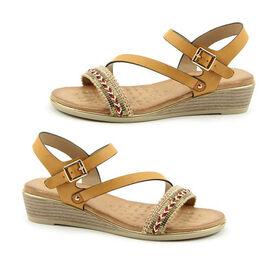 Heavenly Feet Garnet Tan Ladies Wedge Sandals