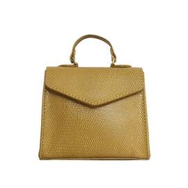 Assots London KYLIE Lizard Textured Genuine Leather Grab Bag (Size 13x2.5x10 Cm) - Ochre