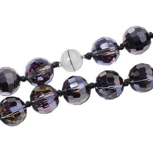 Simulated Bi-Colour Beads Necklace (Size 20) with Magnetic Lock in Stainless Steel