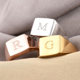 Personalised Engraved Signet Ring for Mens in Silver
