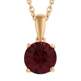 J Francis - Crystal from Swarovski Ruby Colour Crystal (Rnd) Solitaire Pendant With Chain (Size 18)