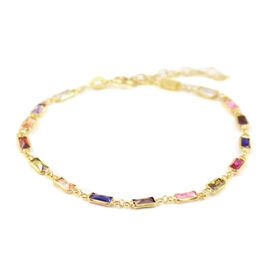 ELANZA Simulated Rainbow Sapphire Bracelet (Size 8 with Extender) in Yellow Gold Overlay Sterling Si