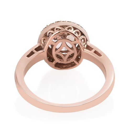 Rare Size AAA Marropino Morganite (Ovl9X7 1.65 Cts), Natural Champagne Diamond (Rnd 0.35 Cts) Ring in Rose Gold Overlay Sterling Silver 2.000 Ct.