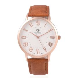 STRADA Japanese Movement Water Resistant Watch with Coffee Colour Strap