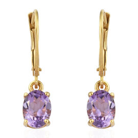 Rose De France Amethyst (Ovl) Lever Back Earrings in 14K Gold Overlay Sterling Silver 2.00 Ct.