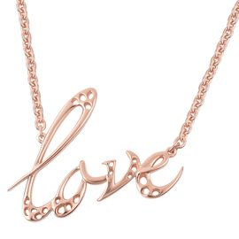 RACHEL GALLEY Rose Gold Overlay Sterling Silver Lattice Love Necklace (Size 16 with 2 inch Extender)