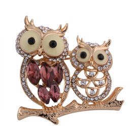 Set of 2 - Multi Colour Austrian Crystal and Simulated Amethyst Owl Brooch or Pendant in Yellow Gold