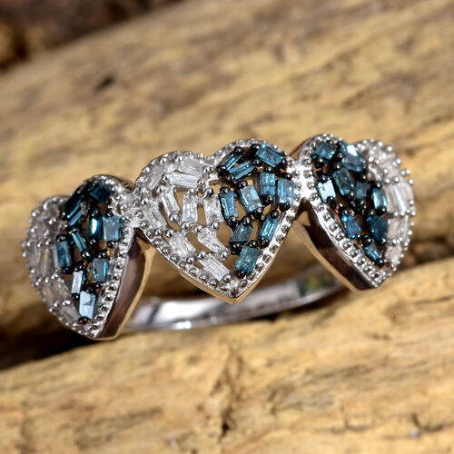 Blue and White Diamond (Bgt) Heart Ring in Platinum Overlay Sterling Silver 0.330 Ct.