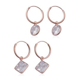 ELANZA - AAA Set of 2 Simulated Diamond Hoop Earrings in Rose Gold Overlay Sterling Silver