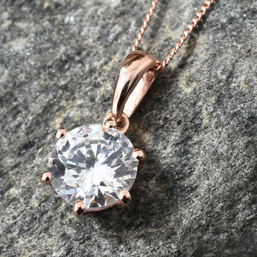 J Francis - Rose Gold Overlay Sterling Silver (Rnd 8 mm) Solitaire Pendant with Chain Made with SWAROVSKI ZIRCONIA (Equivalent Ct. wt 2.040)