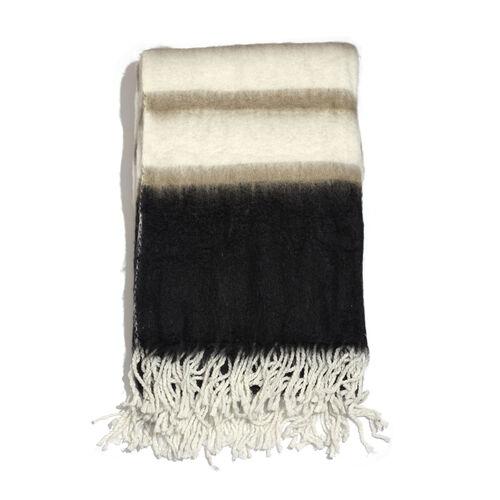 Mohair Cream, Black and Multi Colour Stripe Pattern Plaid (Size 150x125 Cm)