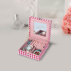Pink and White Houndstooth Pattern Jewellery Box with Mirror and Multiple Compartments (19x19x6.3cm)