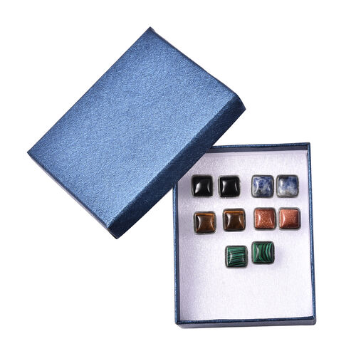 Set of 5 -  Multi Gemstone Stud Earrings (with Push Back) in Stainless Steel