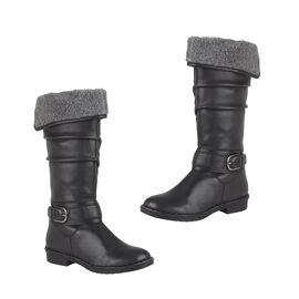 Lotus Black Leather Talitha Knee-High Boots
