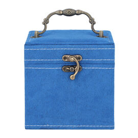 Blue Velvet 3 layer jewelry box with mirror vintage style handle and lock