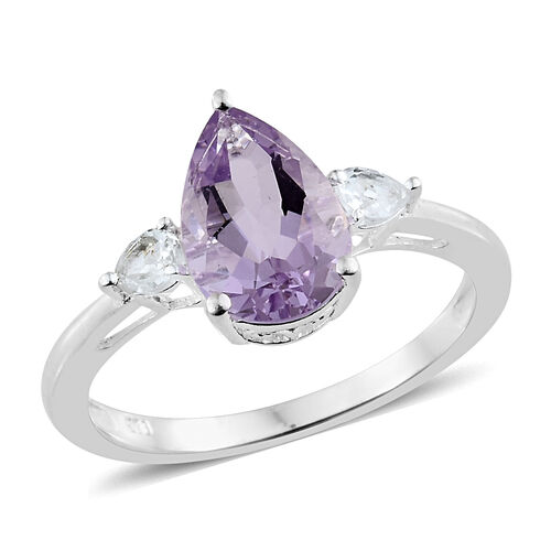 Rose De France Amethyst (Pear 2.60 Ct), White Topaz Ring in Sterling Silver 3.000 Ct.