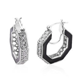 J Francis - Platinum Overlay Sterling Silver Enamelled Earrings (with Clasp) Made with SWAROVSKI ZIR