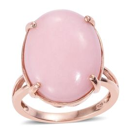 Natural Peruvian Pink Opal (Ovl) Ring in Rose Gold Overlay Sterling Silver 13.500 Ct.