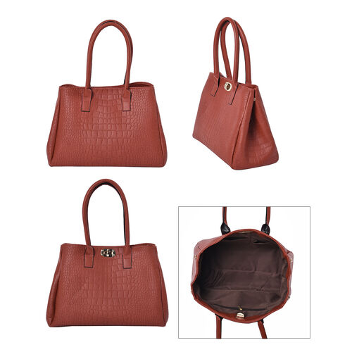 Set of 3 - Crocodile Skin Pattern Tote Bag (34x26x13.5cm), Satchel Bag with Detachable Shoulder Strap (30x21x13cm) and Crossbody Bag with Metallic Chain Strap (24x16cm) - Dark Red