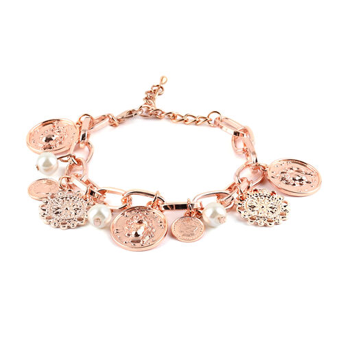 Designer Inspired - Simulated White Pearl Charm Bracelet (Size 9 with Extender) in Rose Gold Tone