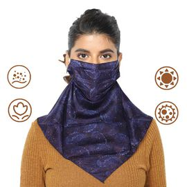 2-in-1 100% Silk Printed Soft Feel Scarf and Protective Face Mask (Size 43x43cm) - Navy Blue