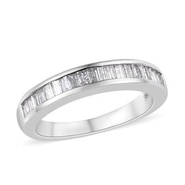 9K White Gold Diamond (Bgt) Half Eternity Ring 0.50 Ct.
