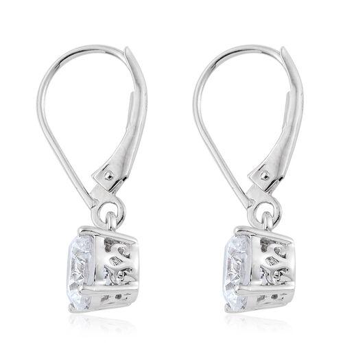 J Francis - 9K White Gold Lever Back Earrings Made with SWAROVSKI ZIRCONIA