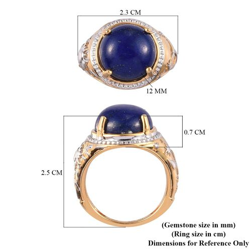 GP - Lapis Lazuli and Blue Sapphire Ring in Platinum and Yellow Gold Overlay Sterling Silver 6.75 Ct.