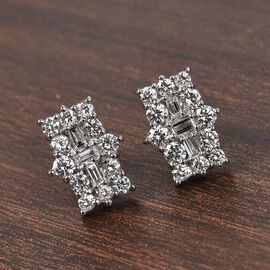 DOORBUSTER DEAL RHAPSODY 950 Platinum IGI Certified Diamond (VS/E-F) Boat Cluster Earrings (with Scr