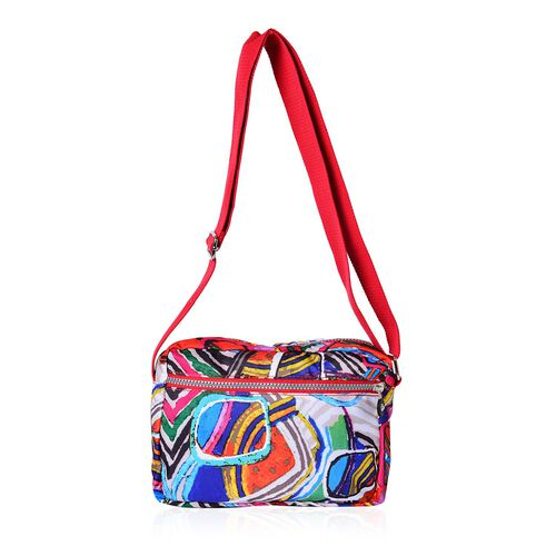 Designer Inspired Multi Colour Printed Red Colour Handbag with External Zipper Pocket and Adjustable Shoulder Strap (Size 25x18 Cm)