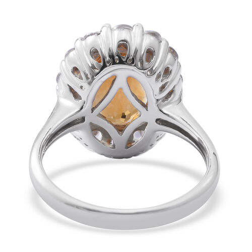 Designer Inspired - Citrine (Rare Size Ovl 14X10 mm 5.25 Ct), Natural Cambodian Zircon Ring in Rhodium Plated Sterling Silver 8.000 Ct. Silver wt 6.01 Gms.