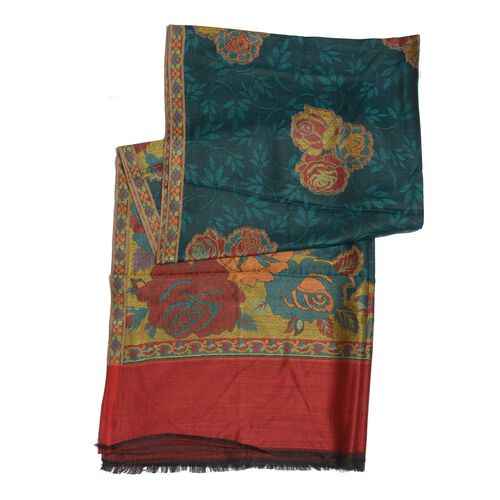 100% Superfine Modal Green, Red and Multi Colour Floral Pattern Jacquard Scarf (Size 190x70 Cm)
