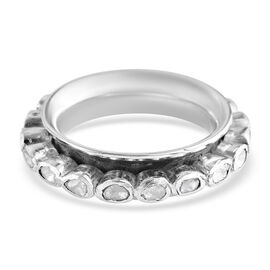 Artisan Crafted - Polki Diamond Full Eternity Ring in Sterling Silver 1.00 Ct, Silver wt. 6.39 Gms