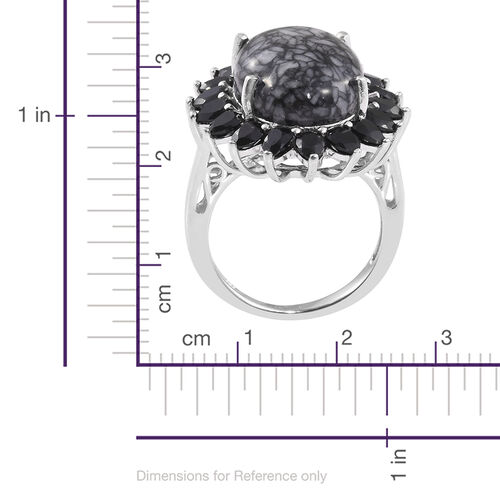 Austrian Pinolith (Ovl 12.70 Ct), Boi Ploi Black Spinel Ring in Platinum Overlay Sterling Silver 16.500 Ct.