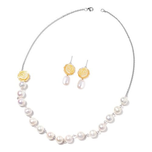 Jardin Collection 2 Piece Set Freshwater Pearl and Yellow Mother of Pearl Beaded Necklace and Hook E