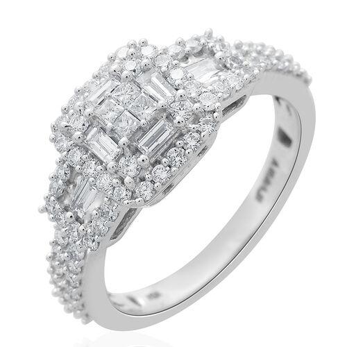 ILIANA 1 Carat IGI Certified Diamond SI GH Cluster Ring in 18K White Gold