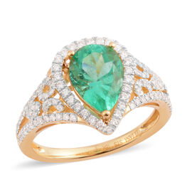 ILIANA 1.94 Ct AAA Emerald and Diamond Halo Ring in 18K Gold 4.04 Grams SI GH