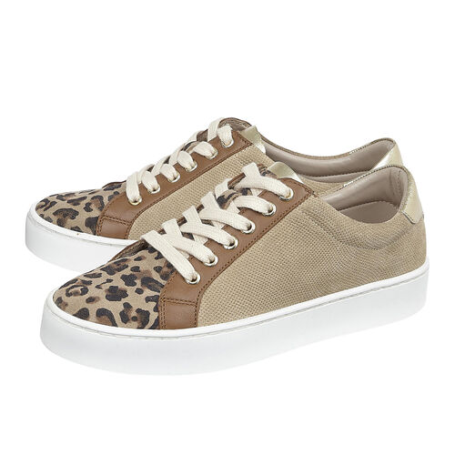 Lotus Stressless Leather Amsterdam Lace-Up Trainers (Size 5) - Natural & Leopard