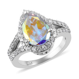Mercury Mystic Topaz and Natural Cambodian Zircon Ring in Platinum Overlay Sterling Silver 4.25 Ct.