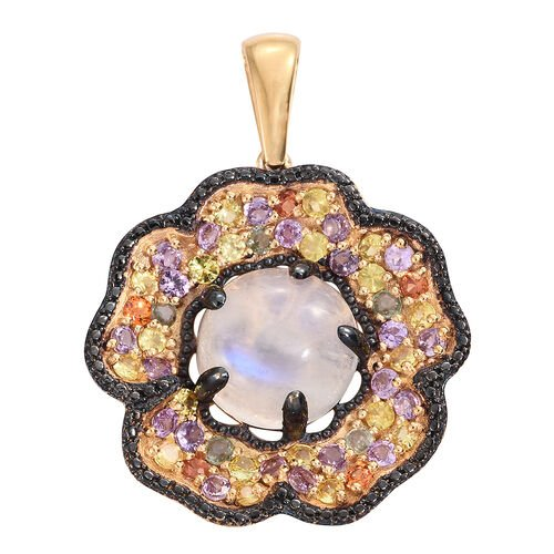 Sri Lankan Rainbow Moonstone (Rnd 11.35 Ct), Rainbow Sapphire Floral Pendant in 14K Gold and Black Rhodium Overlay Sterling Silver 15.750 Ct. Silver wt 11.36 Gms.