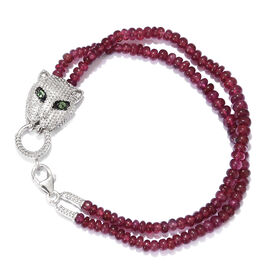 Super Auction- African Ruby (Rnd),Tsavorite Garnet Panther Bracelet (Size 7.5)  in Platinum Overlay Sterling Silver 57.080 Ct.