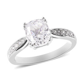 ELANZA Simulated White Diamond Ring in Platinum Overlay Sterling Silver 4.32 Ct.
