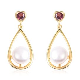 Freshwater Pearl (Rnd), Rhodolite Garnet Earrings (with Push Back) in Yellow Gold Overlay Sterling S