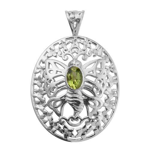 Designer Inspired Hebei Peridot (Ovl) Butterfly Pendant in Sterling Silver Silver wt.5.68 Gms