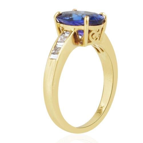 ILIANA 18K Yellow Gold AAA Tanzanite (Ovl 3.75 Ct), Diamond Ring 4.000 Ct.