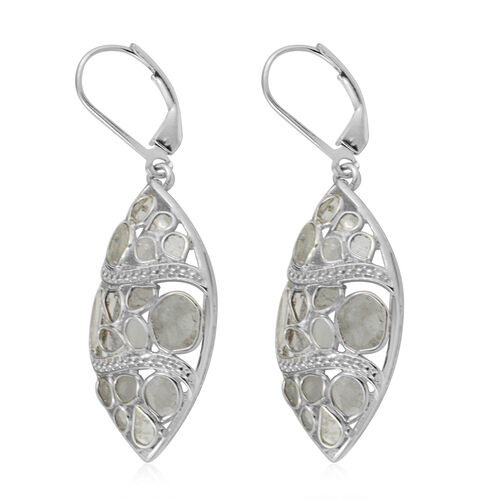 GP - Polki Diamond and Blue Sapphire Lever Back Earrings in Platinum Overlay Sterling Silver 2.56 Ct, Silver wt 5.85 Gms